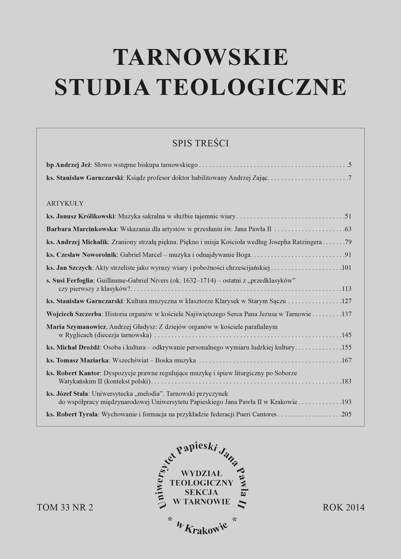 Tarnowskie Studia Teologiczne 33 (2014) nr 2